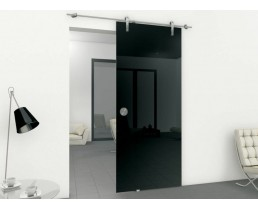 Прозрачная раздвижная дверь, чёрного цвета