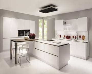 Белая кухня без ручек – современная классика