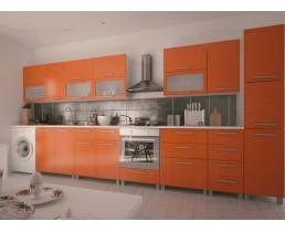 Прямая оранжевая кухня с крашеными фасадами