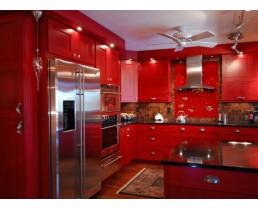 Угловая красная кухня премиум класса