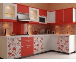 Угловая кухня с крашеными фасадами, красные кухни