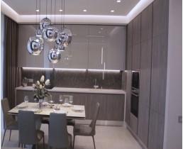 Угловая кухня с глянцевыми фасадами AGT и панелями Skin