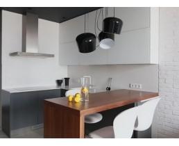 Угловая кухня без ручек в Smart квартиру.