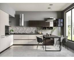 Угловая кухня на заказ с фасадами Skin Dolcevita  и мдф панель AGT