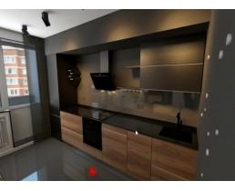 Современная встроенная кухня с фасадами Skin и Soft Touch