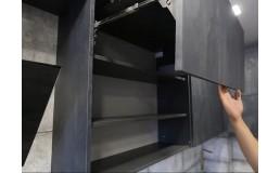 Угловая кухня без ручек до потолка в стиле Лофт