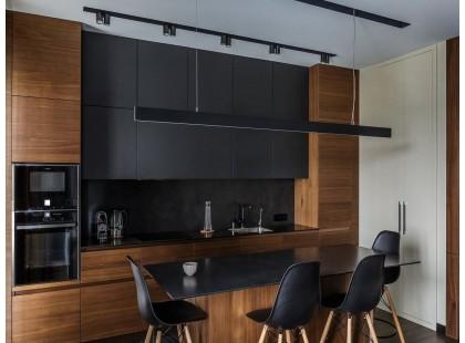 Дизайнерская кухня со шпонироваными фасадами в стиле Loft