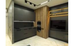Встроенная кухня на заказ с фурнитурой Blum. Кухня с телевизором в стиле Loft. ЖК Варшавский квартал