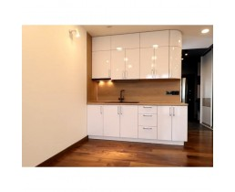 Кухня на заказ, с крашеными  фасадами МДФ и стеновой панелью Luxform
