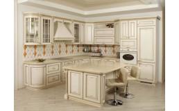 Кухня в классическом стиле, с островом. Фасады массив дуба с патиной. Видео.