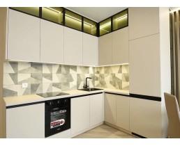 Кухня на заказ с фасдами AGT 601 HG White. Белая кухня без ручек с врезной ручкой UKW 5. Фурнитура  Blum