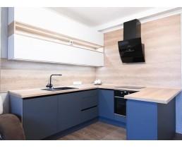 Кухня на заказ с суперматовыми фасадами AGT Glamorous Pasific 3029 и глянцевыми 601 HG White. Фурнитура  Blum
