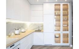 Кухня на заказ с крашенными фасадами МДФ RAL 9010 , фрезеровка  Сигма. Фурнитура  Blum