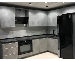 Современная встроенная кухня на заказ c фасадами Бетон, в стиле Loft