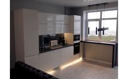 Акриловая кухня на заказ. с белыми супер глянцевыми фасадами