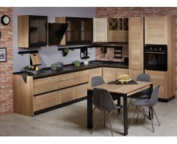 Угловая кухня с рамочными фасадами. Шпон и ДСП Egger